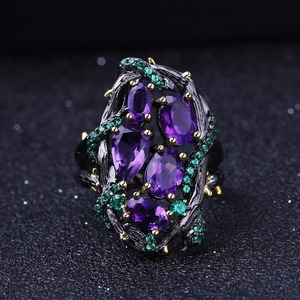 Image 3 - Gems Ballet 3.23Ct Natuurlijke Amethist Ringen 925 Sterling Zilveren Handgemaakte Hollow Element Ring Voor Vrouwen Bijoux Fijne Sieraden