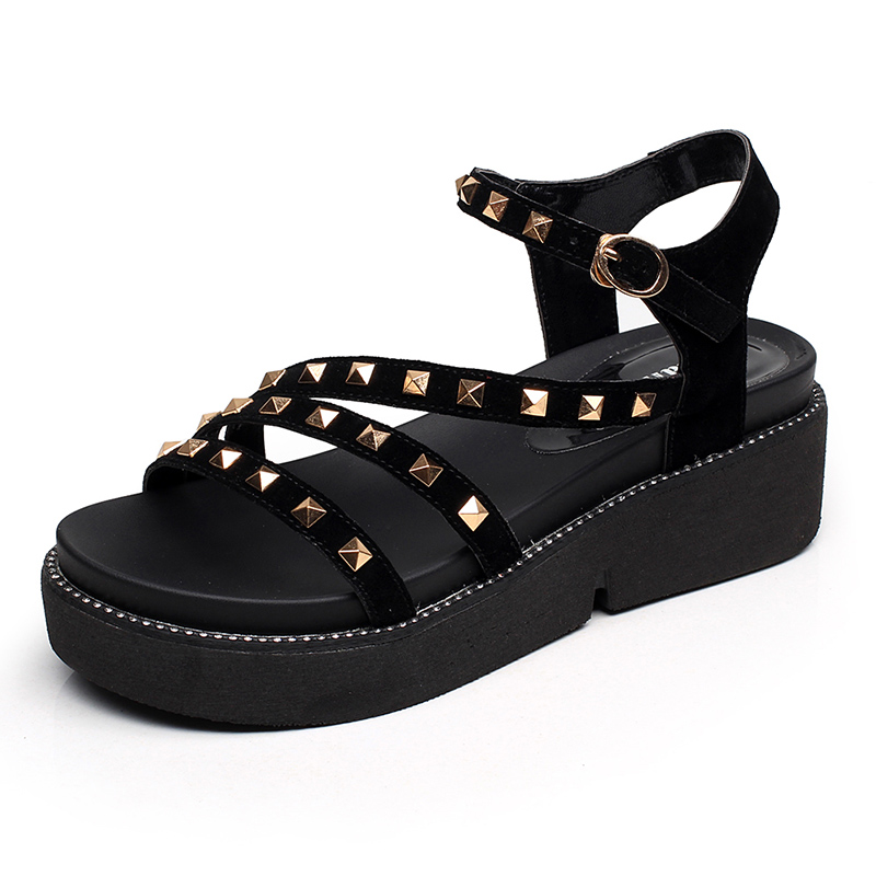 GKTINOO 2018 Summer Gladiator Sandals Women Rivet Wedges Fashion Women Shoes Casual Comfortable Platform Female Sandal women sandals 2017 summer shoes woman wedges fashion gladiator platform female slides ladies casual shoes flat comfortable