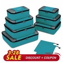 Купить с кэшбэком Gonex 9pcs/Set Hanging Ziplock Luggage Travel Bags Packing Cubes Portable Rip-Stop Nylon Laundry Shoes Organizer Storage Bag