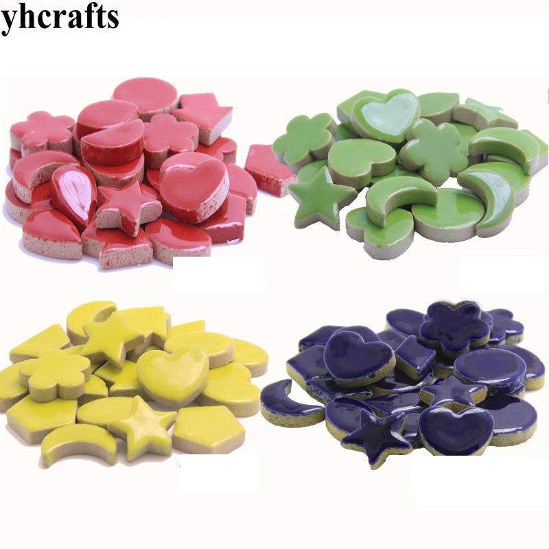 250PCS(500gram)/Lot 2cm Colorful Ceramic Star Moon Flower Mosaic Tile Scramble Tiles Porcelain Mosaic Adult DIY Arts And Crafts