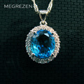 MEGREZEN Blue Rhinestone Necklace Chokers Vintage Pendants With Chain For Lovers Bijouterie Collier Goutte Cristal Yn003-5