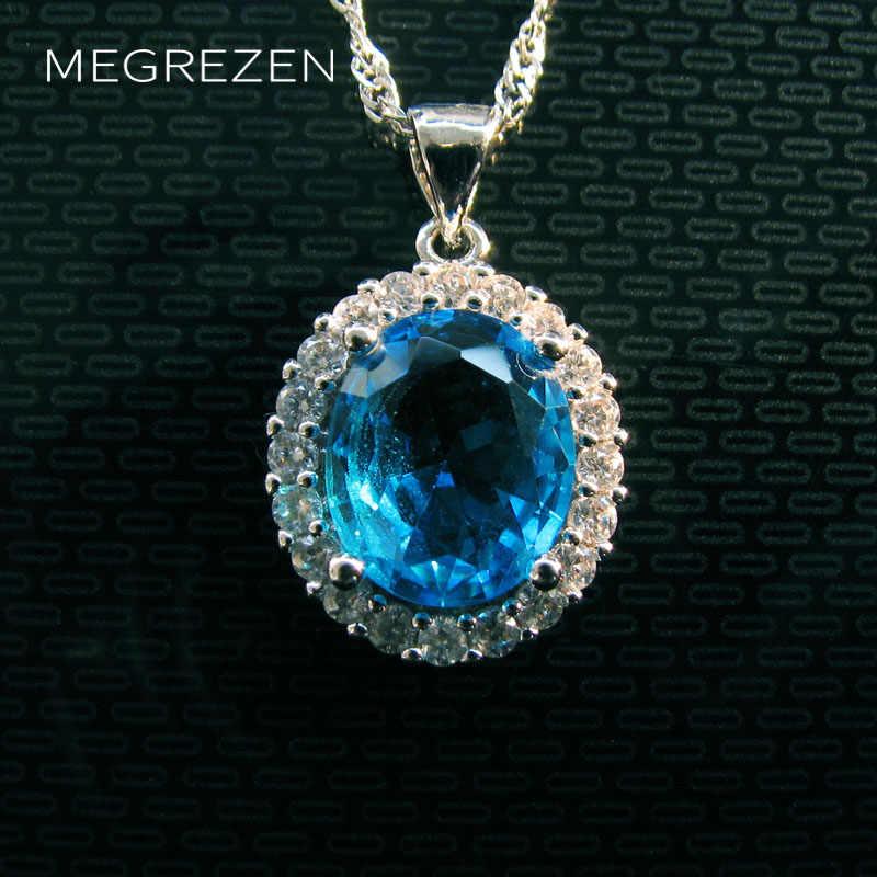 MEGREZEN niebieski Rhinestone naszyjnik Chokers w stylu Vintage wisiorki z łańcucha dla miłośników biżuteria Collier dna Cristal Yn003-5