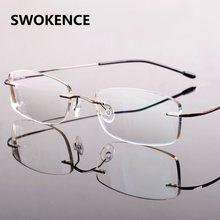 SWOKENCE Moda Sem Aro óculos de Leitura Óculos de Mulheres Homens Liga de  Alta Qualidade Ultraleve Flexível Templo HD Óculos Par. a80ee78527