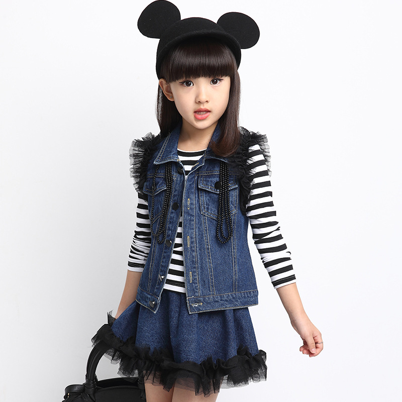 Fashion Denim Coat Striped T Shirt Tutu Skirt Girls Kids Clothes 3 Pieces Suit Baby Girls Clothing Sets Girls Clothes цена 2017