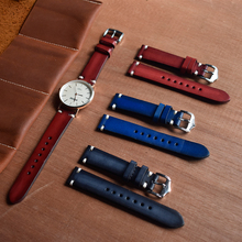 2019 Handmade Vintage Watchband Genuine Leather Watch Strap Replacement Watch Band Bracelet Buckle 20mm Red Black Blue KZTS03 все цены