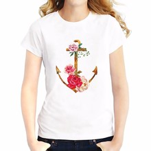 anchor covered flowers t shirt  Summer Tees Tops Breathable comfort tshirt O-Neck Short Sleeve girls T-Shirts