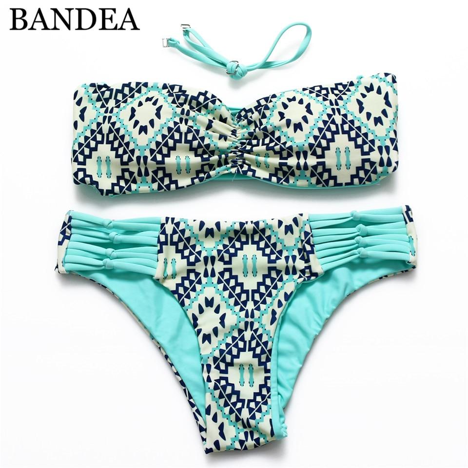 BANDEA  Sexy Bikini Set Print Floral Swimsuit Sexy Strappy Bikini Women Beach Swimwear Reversible Bikini Bandeau Bathing Suit