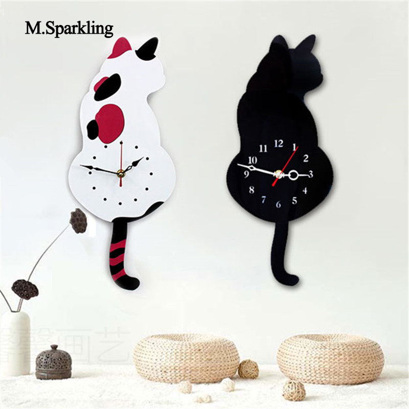 M.Sparkling creative mute wall <font><b>clock</b></font> cartoon Torn Tail Cat Wall <font><b>Clock</b></font> digital acrylic wall decoration cute gift for childs