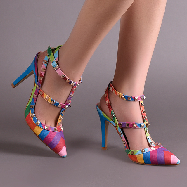 d4d856a39f57 Fashion Pointed Toe High Heels Shoes Women Pumps Rainbow Rivets Sandals  Wedding Shoes Women Shoes 2015