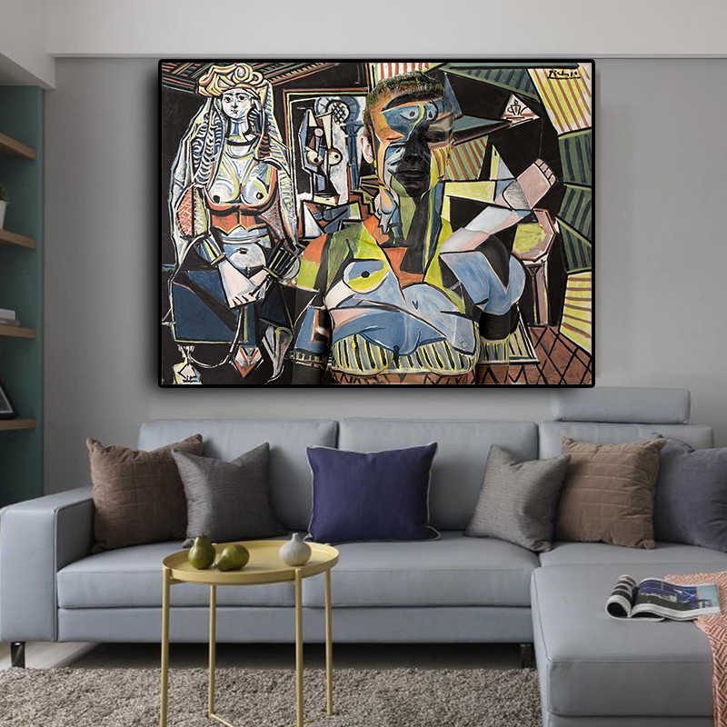 Women Of Algiers by Pablo Picasso Posters and Prints Oil Painting on Canvas Wall Art Picture for Living Room Cuadros Decoration