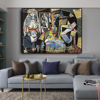Women Of Algiers by Pablo Picasso Posters and Prints Oil Painting on Canvas Wall Art Picture for Living Room Cuadros Decoration claude monet anemone oil painting on canvas posters and prints wall picture for living room home decoration