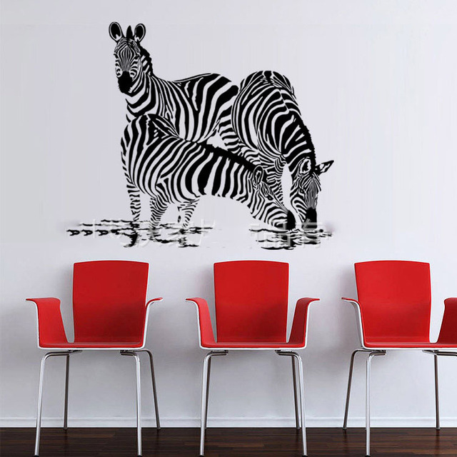 Large DIY 3D Zebra Wall Stickers Art Mural Kids Boy Living Room Cartoon  Horse Animal Bedroom