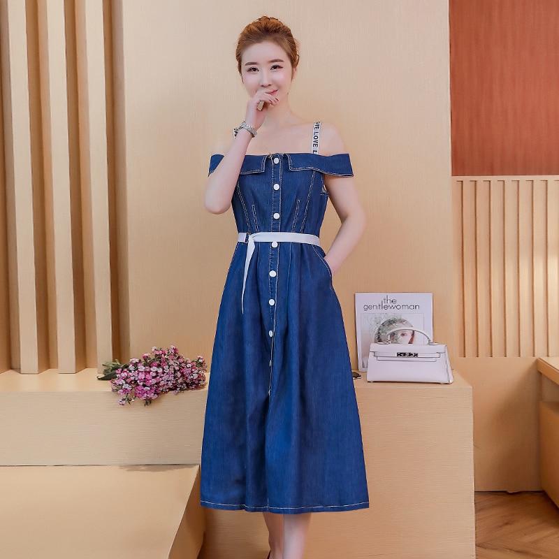 - 874 # new word shoulder strap cowboy dress female temperament of summer long accept waist shoulder the a-line