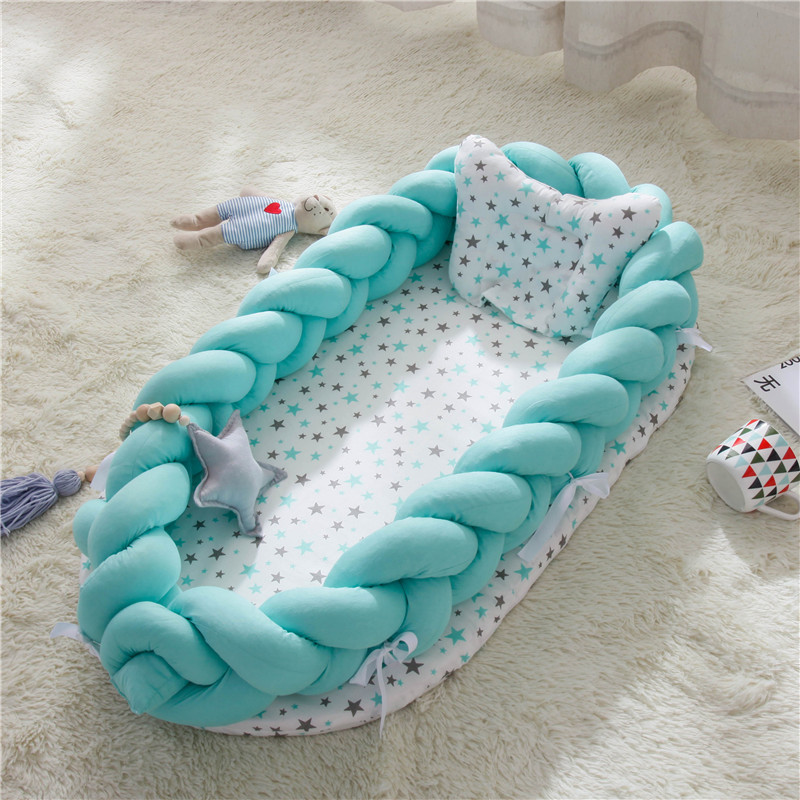 Baby Nest Print Cotton Bionic Bed Washable Portable Baby Bed Multi Functional Travel Crib Bed With Bumper Newborn Mattress(China)