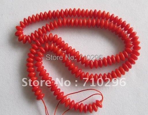 Красный коралл Бусины 10strands/лот 3*6 мм Рондел красный коралл ювелирные изделия Бусины 40 см/strand