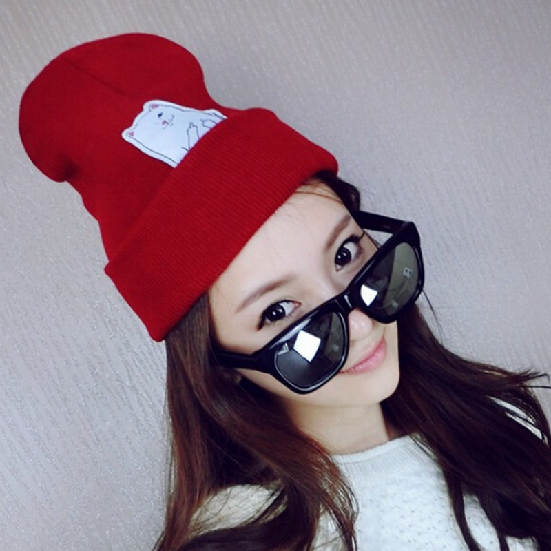 New autumn cat vertical middle finger street shot wool hat male knit hat cold hat winter female Korean version Skullies hat cap [angelbola] 2017 korean fashion autumn and winter new cat knitting children cap wool hat knitted printing hat c 075
