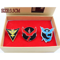 Mew Pokemon GO Team Valor Mystic Instinct Badges Metal Pins+Box Cosplay Collection Box Gift For Kids Adult