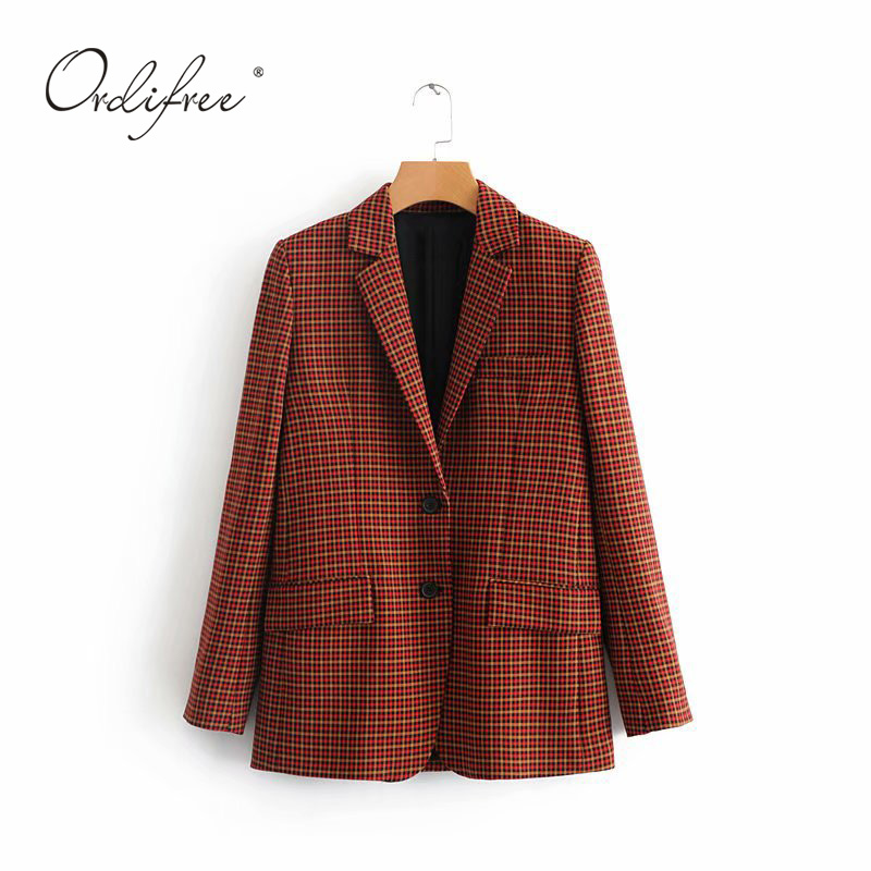 Ordifree 2019 Autumn Women Plaid Blazer Single Breasted Suit Jacket Fashion Casual Outwear Blazer Feminino