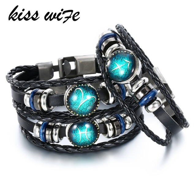 US $1 3 47% OFF|KISS WIFE 12 Constellation Leather Bracelets & Bangles  Virgo/Sagittarius/Aquarius/Scorpio/Libra/Capricorn Bracelet Men-in Charm