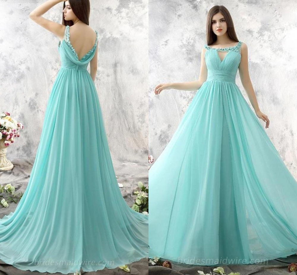 Mint Green Bridesmiad Dresses Long 2017 Hand Made Flower Plus Size ...