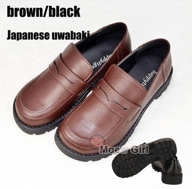 8513f6715bb Women Men Unisex Japan Japanese School Student Uniform Shoes Uwabaki JK  Round Toe Oxforda Anime Cosplay Flat Shoes Black   Brown