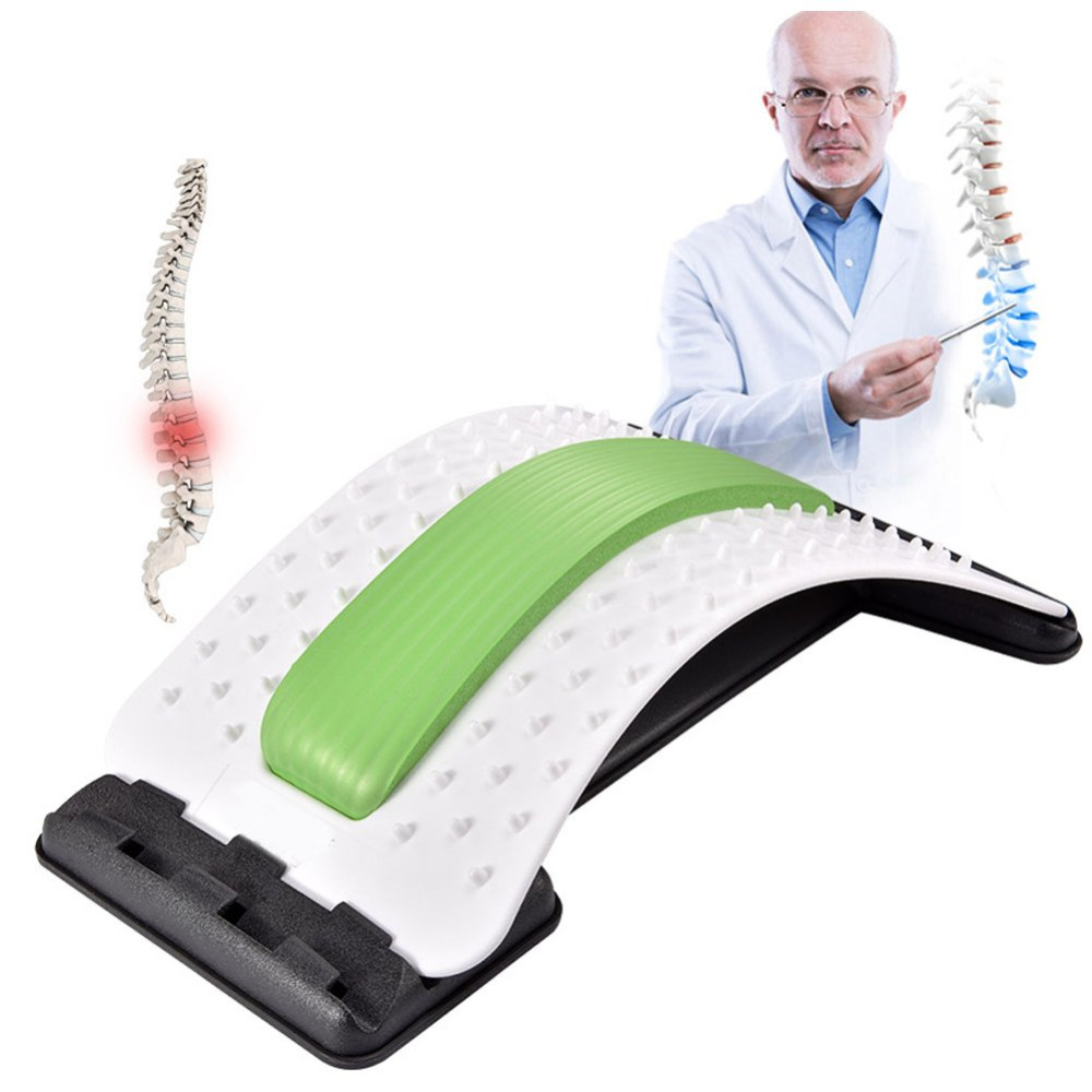 Back Massager Stretcher Acupuncture Set Up Benches 4 Levels Adjustable Portable Lumbar Pain Relief For Lower And Upper Back