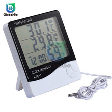 цена на 10pcs/Lot HTC 2 Digital Thermometer Hygrometer LCD C/F Temperature Humidity Meter Alarm Clock