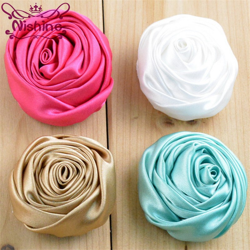 Nishine 50pcs/lot 2 Artificial Multilayer Rolled Satin Fabric Rose Flowers For DIY Wedding Bouquet Decor Hair Accessories
