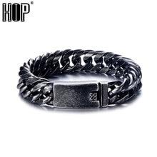 цена на HIP Cool Royal Black Color Men Bracelet 316L Stainless Steel Curb Cuban Link Chain Bracelets For Men Women Jewelry Dropshipping