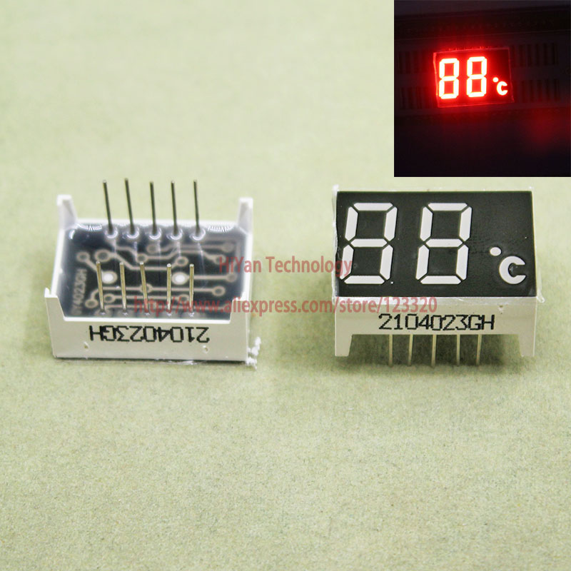 (10pcs/lot) 10 Pins Red 0.4 Inch 2 Digits Bits 7 Segment LED Digital Display Common Anode With Temperature Degree Celsius Unit