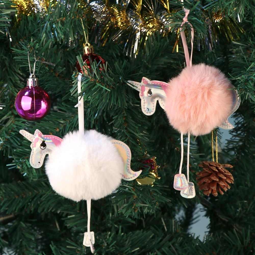 OurWarm Bonito Ornamentos Unicórnio Fofo Faux Rex Rabbit Fur Bola Chaveiro Menina Saco Pendurar Decorações Da Árvore de Natal de Ano Novo
