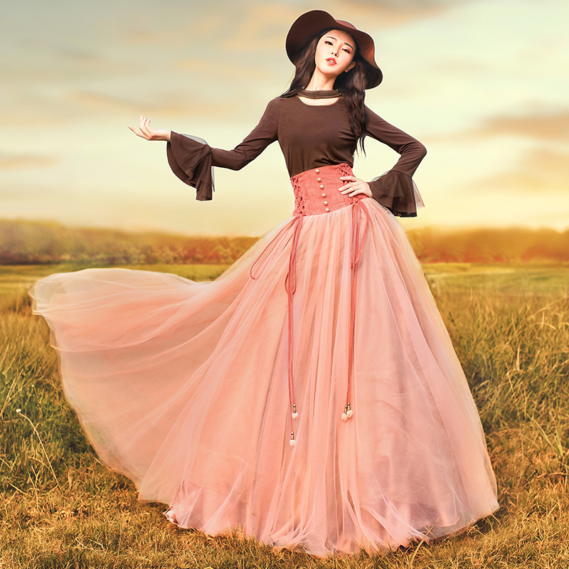 Магазине Джессики Новинка 2017 года осень Для женщин Винтаж суд Стиль тонкий элегантный Высокая талия все матч Multi Слои длинная сетчатая юбка