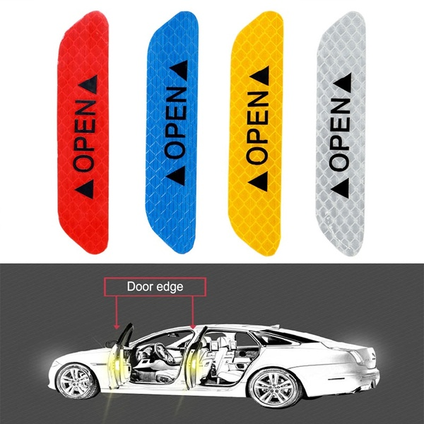 4Pcs Warning Mark Reflective Tape Car Door Sticker Decals OPEN Sign Auto Driving Safety Reflective Strips Exterior Accessories