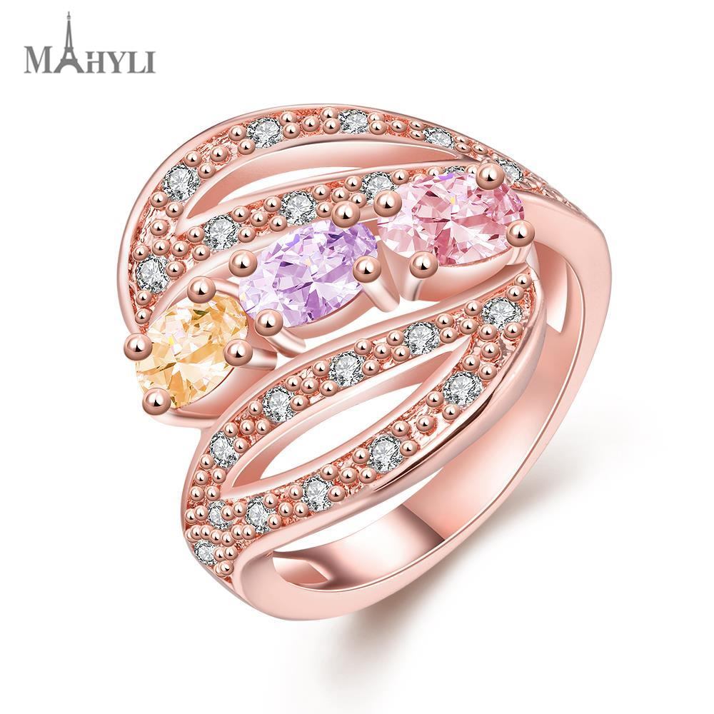 MAHYLI fashion big CZ Zircon women\'s Ring Stainless Steel Jewelry ...