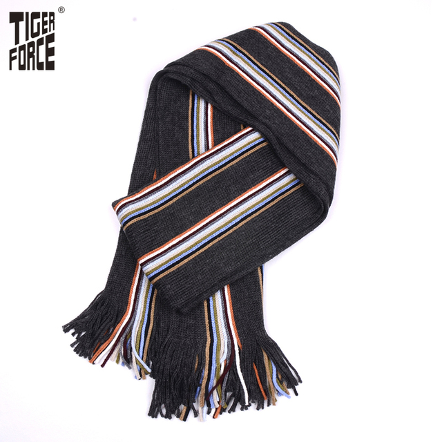 TIGER FORCE 2017 Men Fashion Scarf Winter Autumn Casual Long Striped Scarf Warm Soft Winter Scarf High Quality Free Shipping