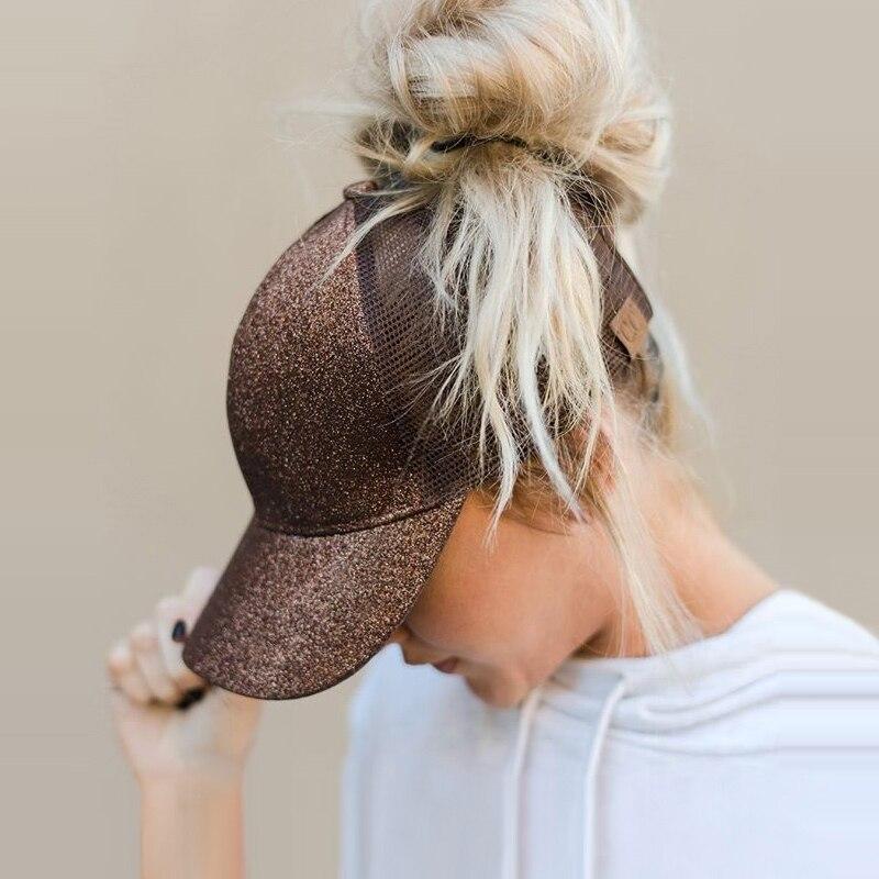 Drop Verschiffen CC Glitter Pferdeschwanz Baseballmütze Frauen Messy Bun Baseballmütze Mädchen Hysteresenkappen Sommer Sport Mesh Hüte