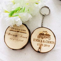 20pcs Natural Wooden Keychain Keyring Personalized Gifts Wedding Favors company gift for guests custom wood gift tags