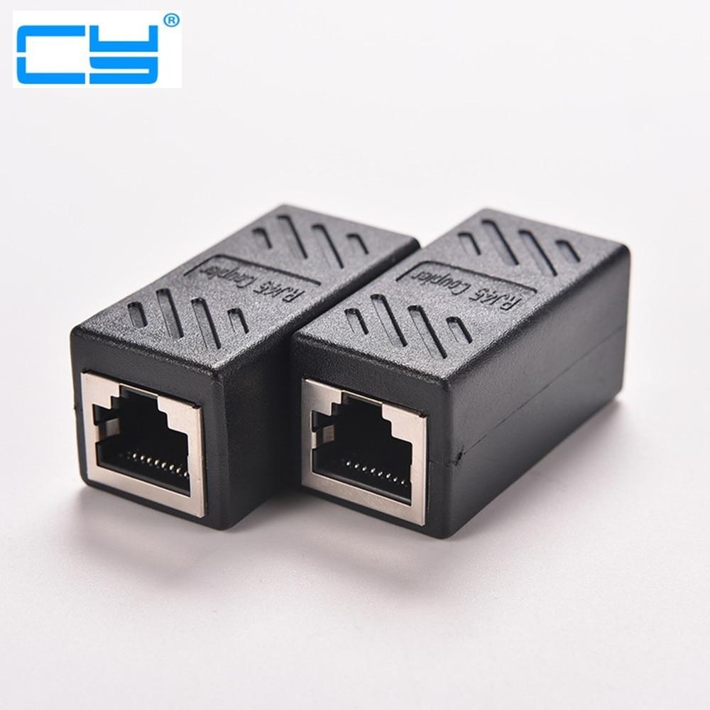 5 Pcs Preto Extensor Acoplador Femea Para Femea Conector Do Adaptador De Rede LAN Ethernet RJ45 Cabo De Juncao Extensao Converte