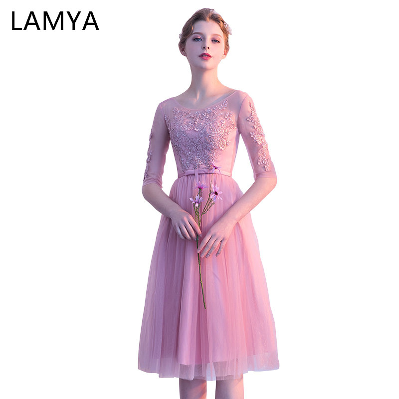 LAMYA Elegant Tea Lenght Bridesmaid Dresses Simple Half Sleeve Wedding Party Dress Women Lace A Line Special Occasion Gowns