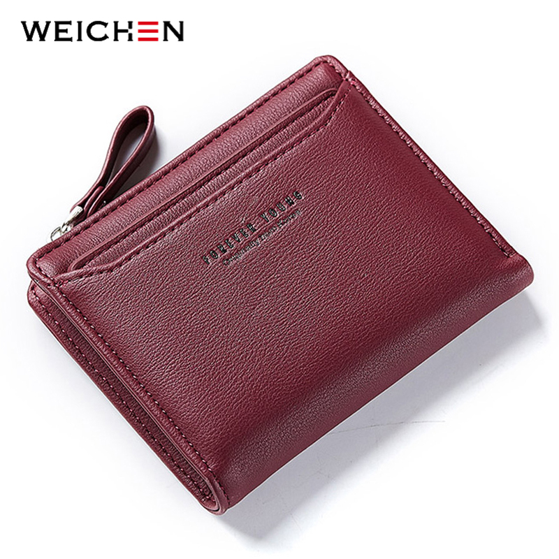 WEICHEN Women Casual Short Wallets, Fashion Lady id Card Holder Coin Pocket Small Wallet Solid Purse Female Carteras Carteira