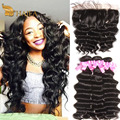 Loose Deep Wave With closure 13x4 Ear to Ear Lace Frontal Closure with bundles Wet and Wavy 100% Human Hair Brazilian Water Wave