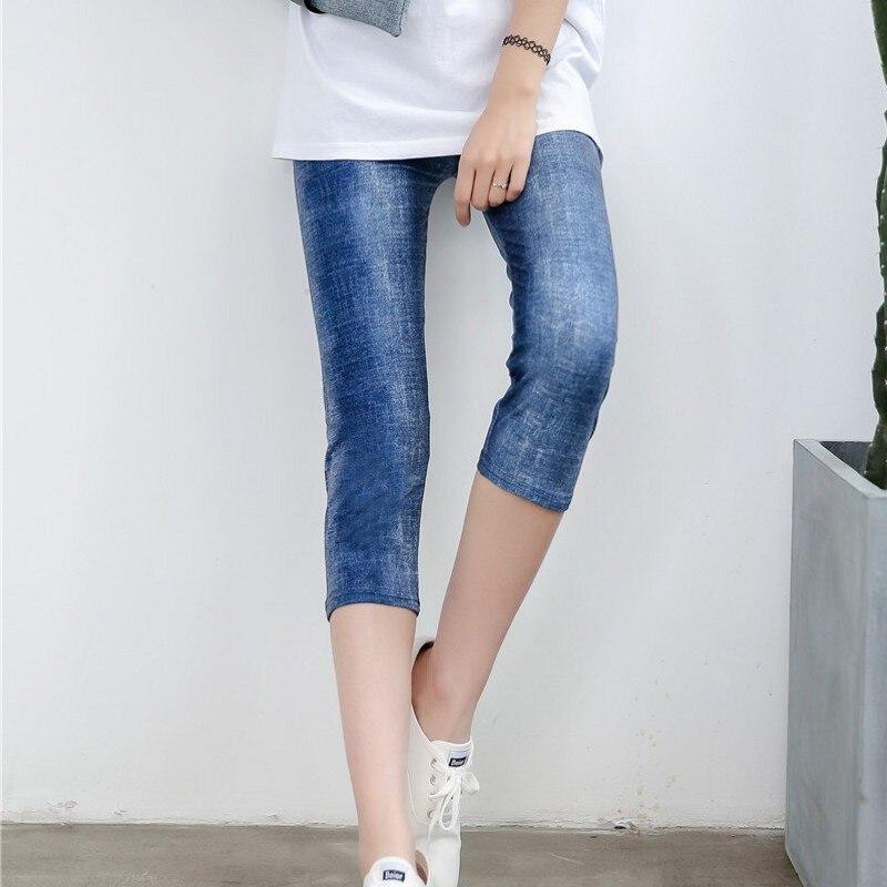 Summer Women   Capris   Leggings Faux Denim Jeans Leggins Knee Length   Pants   Skinny Casual Stretched Elastic Cropped Leggings Cowboy