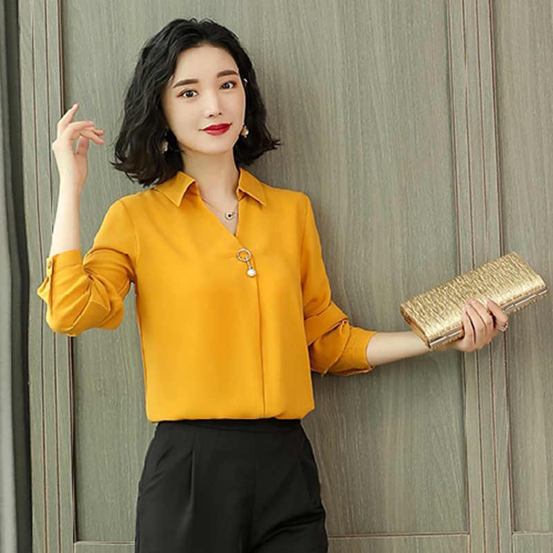 Новые осенние весенние женские топы и блузки женские с длинным рукавом 2018 Рубашки повседневные Шифоновые Блузки рабочая одежда офисные Blusas Femininas