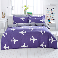 2016 New 100% Cotton four Bedding Set Full/Queen/King size (A duvet cover A sheet two pillow cases)The plane Blue background