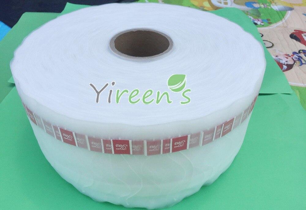 6000 piezas/rollo 58X70mm Pirámide de Nylon bolsas de té Material en rollo con cuerdas y etiqueta de té, tela de nailon transparente de sellado térmico-in Infusores de té from Hogar y Mascotas    1