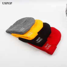 USPOP 2019 New winter cold hats women letter embroidery knitted beanies men casual knitting skullies couple