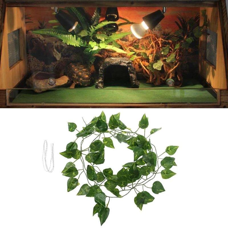 40cm Yutiny Reptile Vines,Reptiles Artificial Vine Plastic Fake Hanging Leaves Green Simulation Plant Reptile Terrarium Habitat Decor Aquarium Fish Tank Ornament with a Sucker