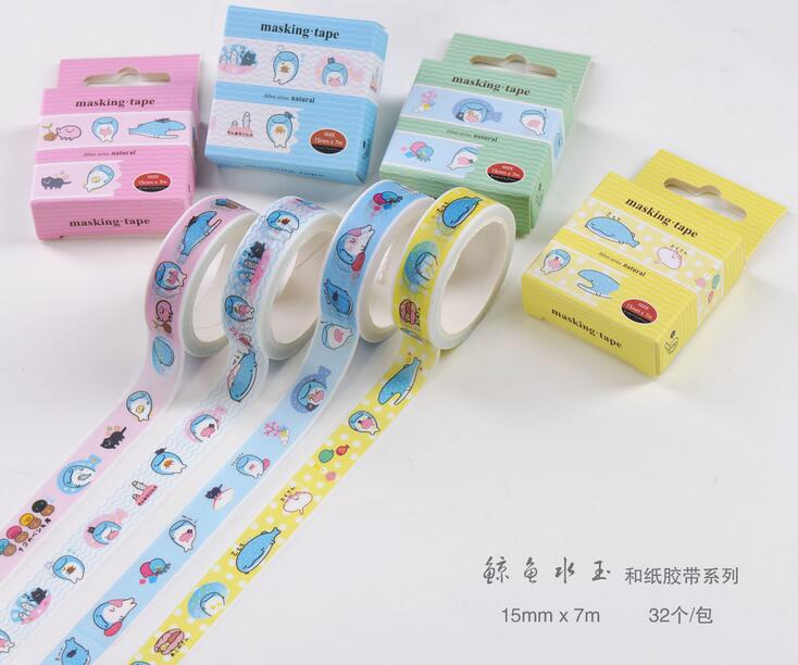 Japanese Style Lovely Whale Washi Tape Adhesive Tape DIY Scrapbooking Sticker Label Masking Tape 1roll 35mmx7m high quality rabbit home pattern japanese washi decorative adhesive tape diy masking paper tape label sticker gift page 2