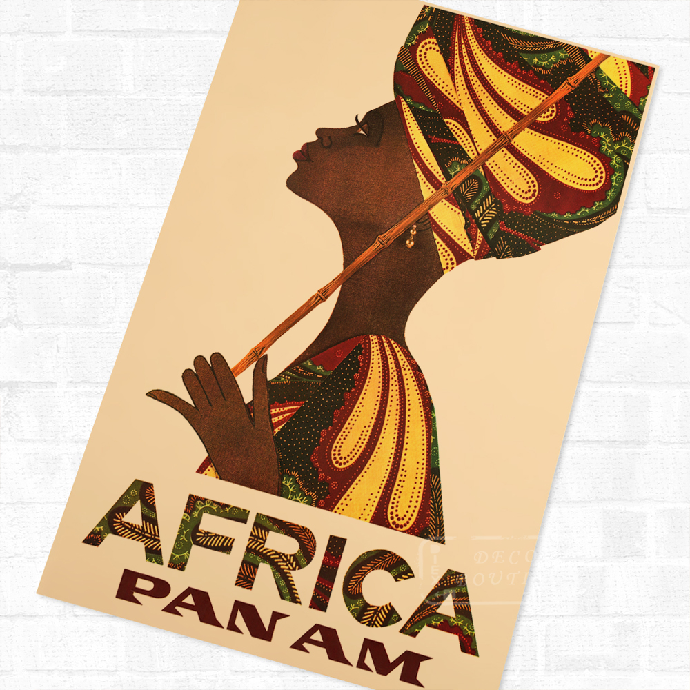 Africa Pan Am African Propaganda Vintage Travel Poster Retro Canvas ...