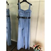 Модные джинсовые синие цельные брюки, весенние и летние новые модные женские брюки с поясом